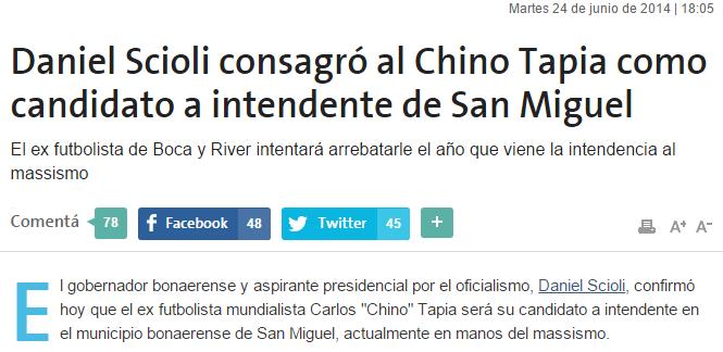 Daniel Scioli consagró al Chino Tapia como candidato a intendente de San Miguel lanacion.com