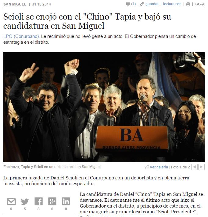 Scioli se enojó con el Chino Tapia y bajó su candidatura en San Miguel La Política Online