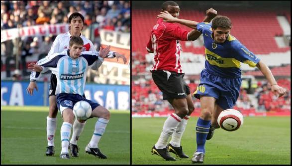 A la derecha, Marinelli con la de Boca, en la Vodafone Cup. A la izquierda, frente a River. Trivia: ¿Quién es el jugador que lo marca? La respuesta, cuando alguien lo acierte (?)