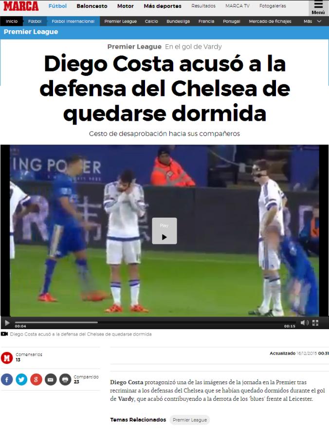 Grande Diego Costa quedando bien con la gente y el DT¿Sus compañeros? QUE SE MATEN