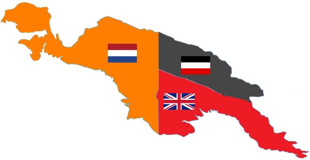Mapita Marginal de 1900. En el Este de la Isla estaban los holandeses haciendo cagadas bajo el nombre de Indias Orientales Neerlandesas