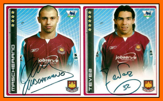 Carlos TEVEZ et Javier MASCHERANO - West Ham 2007