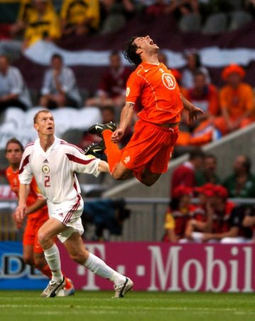 Holland's Ruud van Nistelrooy takes a dive during the game