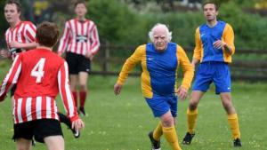 "Mandatory Credit: Photo by Geoff Moore/REX/Shutterstock (5691847l) Dickie Borthwick playing football 80-year-old is 'Britain's oldest footballer', Dorset, Britain - 21 May 2016 *Full story: http://www.rexfeatures.com/nanolink/sdhq Despite having celebrated his 80th birthday, Dickie Borthwick is still playing the 'beautiful game' and claims to be the UK's oldest football player. His recent outing saw him take part in a match at Chickerell near Weymouth where he played for the Chickerell Former Coaches against their Under 16 team. The final score was 3-3. Dickie said: ""I have recovered from cancer recently. I cook myself some very healthy meals these days and I just love playing the wonderful game. ""I'm sure that my claim to the title as the oldest regular football player in the UK is still very much valid"". Playing for the Wyke Veterans, Dickie still turns out for games around Weymouth. Often called 'the oldest winger in town', he has clocked up 68 years playing football in total so far. A Norwegian film crew are even currently making a programme about him."